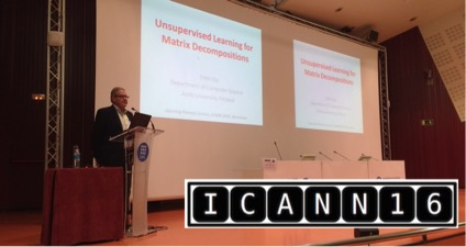 Figure 2 Erkki Oja from Aalto University (Helsinki, Finland), the first plenary speaker of the ICANN 2016.